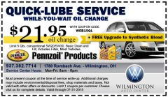 Quick-Lube Oil Change only $21.95