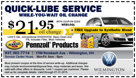 Fast oil and lube coupons